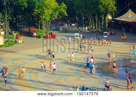 Kharkiv / Ukraine. 07 August 2016: People have a rest in city park of Kharkiv Ukraine. 07 August 2016 in Kharkiv / Ukraine.
