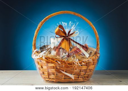 gift basket on blue background