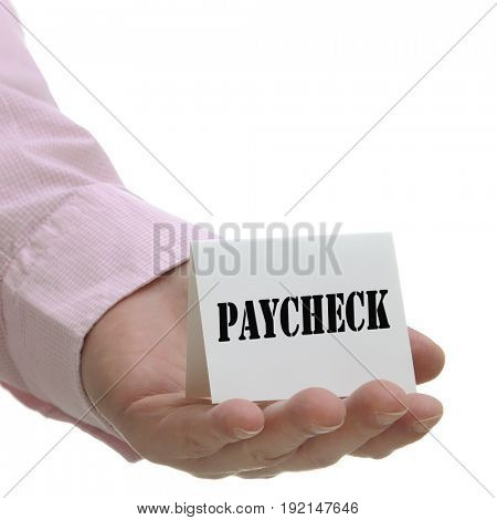 Business man holding paycheck sign on hand