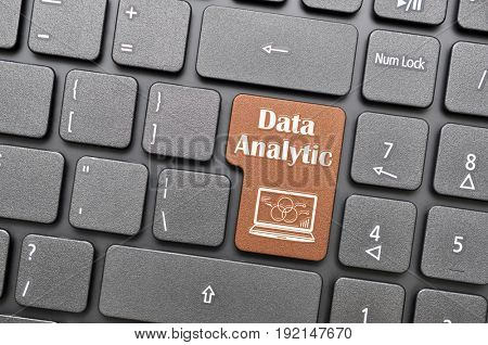 Brown data analytic key on keyboard
