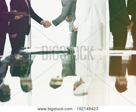 Photo Gradient Style with Business Partners Introduction Handshake Bow