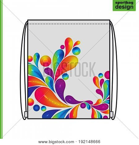 Template of a souvenir gift sports bag with an individual design: an abstract background of colorful drops.