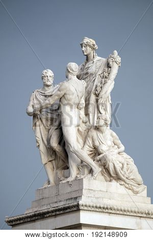 ROME, ITALY - SEPTEMBER 01: The Concordia by Varese Ludovico Pogliaghi, pacification between the monarchy and the people. Altare della Patria Venice Square, Rome, Italy  on September 01, 2016.