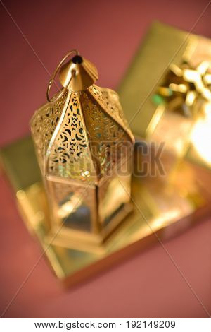 Fanous- an Egyptian traditional lantern with gift boxes. Tradition of distributing gifts during Eid festival.