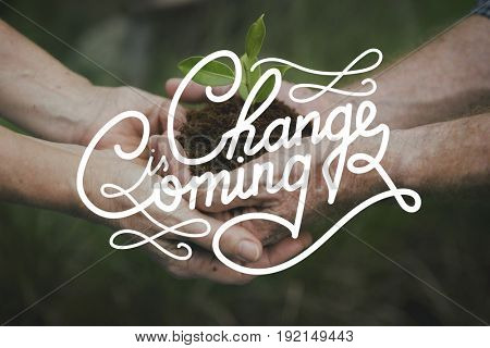 Change is Coming Life Motivation Word Graphic