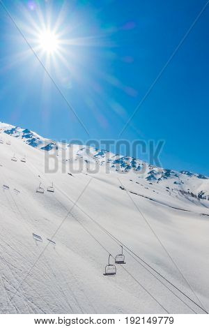 Cable car at snow mountain in Gulmark Kashmir, India