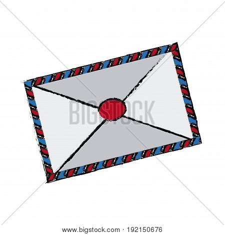 air mail envelope postal stamp letter symbol vector illustration