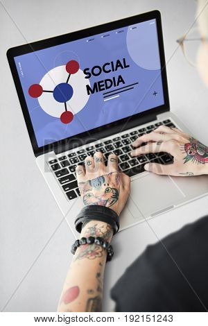 Tattoo woman connected with social network online community