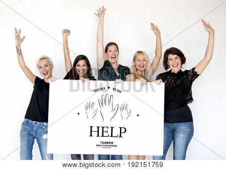Women holding billboard network graphic overlay