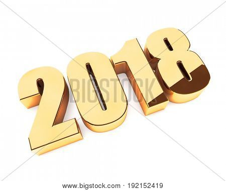 New 2018 year golden 3D figures isolated on white background. 3D rendering.