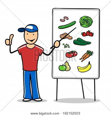 Nutrisionist giving healthy nutrition class using flipchart