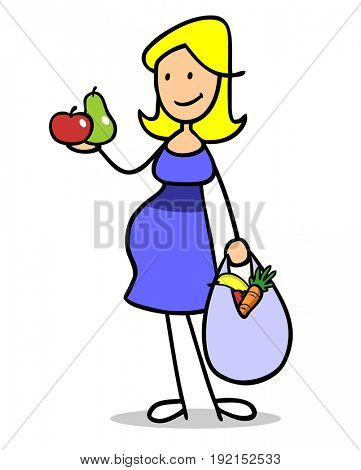 Pregnant woman with healthy nutrition during pregnancy has fruits and vegetables