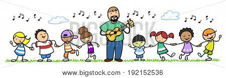 Children or kids singing songs in music school or kindergarten