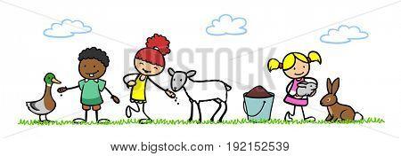 Three happy cartoon children pet animals in petting zoo