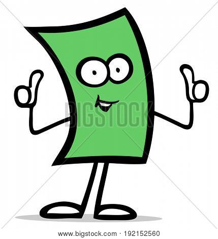 Funny cartoon bill figure with thumbs up as finance success concept