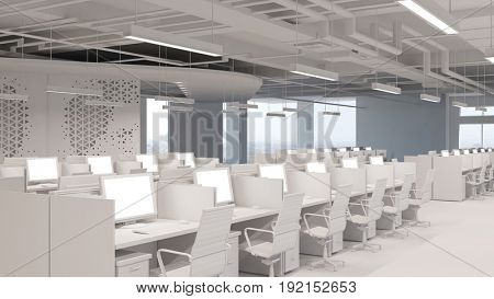 Computer place of work or office for call center or open plan office company (3D Rendering)
