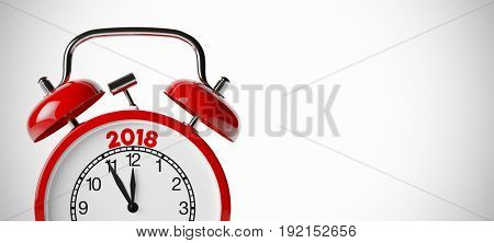New years's eve 2018 background with red alarm clock (3D Rendering)