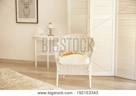 Beautiful modern room interior with white folding screen