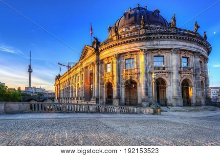 Beautiful architecture of the old town in Berlin at dawn, Germany
