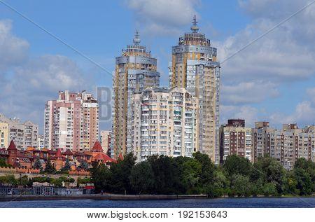 Modern residential area Obolon.June 21 ,2017 in Kiev, Ukraine