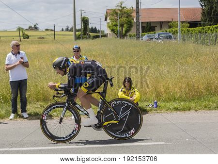 Bourgoin-Jallieu France - 07 June 2017: The French cyclist Angelo Tulik of Direct Energie Team riding during the time trial stage 4 of Criterium du Dauphine 2017. Valverde is a strong contender for the final podium of the race.