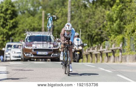 Bourgoin-Jallieu France - 07 June 2017: The French cyclist Axel Domont of AG2R La Mondiale Team riding during the time trial stage 4 of Criterium du Dauphine 2017.