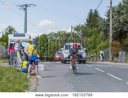 Bourgoin-Jallieu France - 07 June 2017: The Italian cyclist Diego Ulissi of UAE Team Emirates riding during the time trial stage 4 of Criterium du Dauphine 2017. Valverde is a strong contender for the final podium of the race.