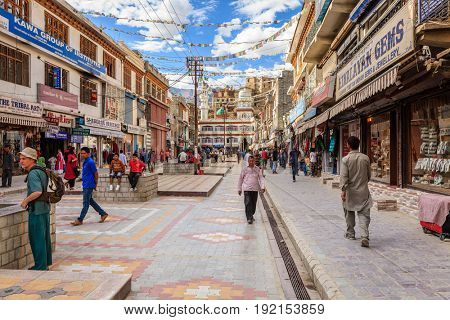 Leh, Ladakh, India, July 12, 2016: main shopping street in Leh, Ladakh district of Kashmir, India