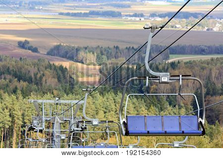 Chair lifts for the ski runs at Silichy in Lagojshchyna, Belarus