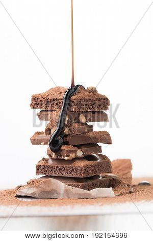 Tower of chocolate with topping