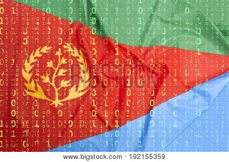 Binary Code With Eritrea Flag, Data Protection Concept