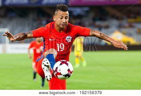 CLUJ-NAPOCA, ROMANIA - 13 JUNE 2017:Chile's Leonardo Valencia in action during the Romania vs Chile friendly, Cluj-Napoca, Romania - 13 June 2017
