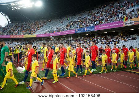 CLUJ-NAPOCA, ROMANIA - 13 JUNE 2017:Chile's national football team enters the stadium ahead of the Romania vs Chile friendly, Cluj-Napoca, Romania - 13 June 2017