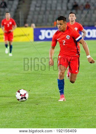 CLUJ-NAPOCA, ROMANIA - 13 JUNE 2017:Chile's Alexis Sanchez in action during the Romania vs Chile friendly, Cluj-Napoca, Romania - 13 June 2017