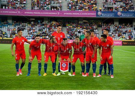CLUJ-NAPOCA, ROMANIA - 13 JUNE 2017:Chile's national football team posing ahead of Romania vs Chile friendly, Cluj-Napoca, Romania - 13 June 2017