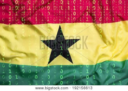 Binary Code With Ghana Flag, Data Protection Concept