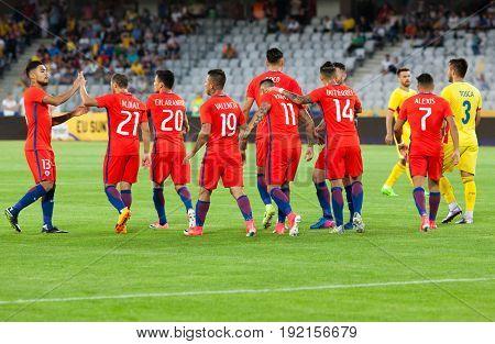 CLUJ-NAPOCA, ROMANIA - 13 JUNE 2017:Chile's players celebrate during the Romania vs Chile friendly, Cluj-Napoca, Romania - 13 June 2017