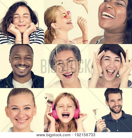 Set of Diversity People Happy Face Expression Emotion Studio Collage