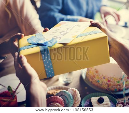 Giving Birthday Present Gift  with Wishing Card Celebration Party