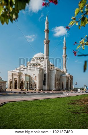 Al Noor Mosque located at Sharjah corniche, UAE.