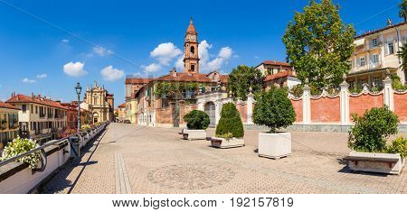Cobblestone promenade in old town of Bra in Piedmont, Northern Italy (panorama).