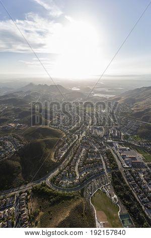 Aerial view of Newbury Park in Ventura County, California.