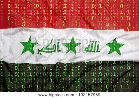 Binary Code With Iraq Flag, Data Protection Concept