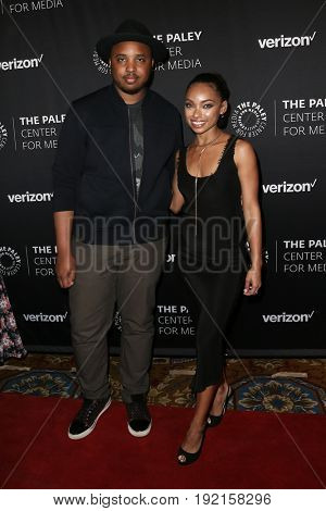 NEW YORK - MAY 17: Justin Simien (L) and Logan Browning attends The Paley Honors: Celebrating Women in Television at Cipriani Wall Street on May 17, 2017 in New York City.