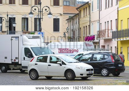 Adria, Italy, June, 7, 2017: cars on a parking in Adria, Italy,