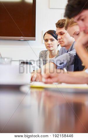 Start-up team brainstorming in training workshop