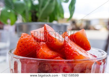 Delicious Fresh Strawberry salad ready to be eaten