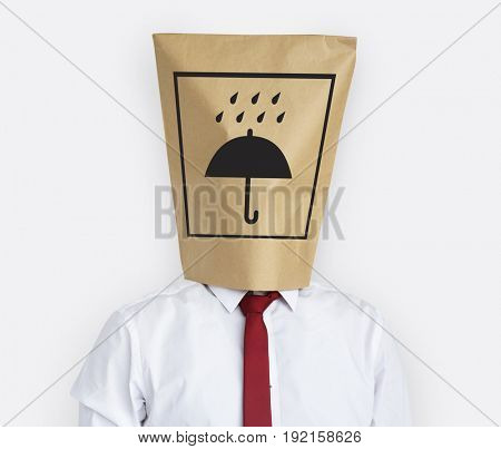 Keep Dry Umbrella Package Caution Care Graphic