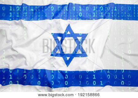 Binary Code With Israel Flag, Data Protection Concept