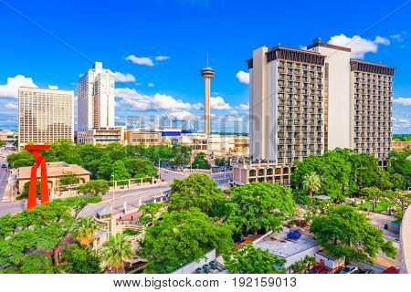 San Antonio, Texas, USA downtown cityscape.